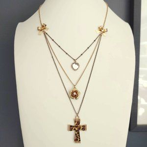Layered cross, flower and heart necklace
